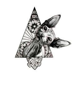 35 Ideas tattoo cat sphynx for 2019 Sphynx Cat Tattoo, Tattoo Gato, Desenho Tattoo, Grunge Tattoo, Hand Tattoos, Small Tattoos, Cool Tattoos, Tattoos Skull, Gato Sphinx