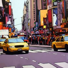 Traffic on Times Square, Patrick Kinn Times Square, Quebec, Art Gallery, New York, Canada, Artwork, Painting, Travel, Toile