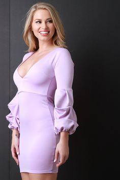 7518118a7ce Deep V-Neck Long Statement Sleeve Bodycon Dress