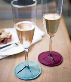 "wine glass coasters - no need for an actual coaster and they eliminate guessing ""who's wine is it?"""