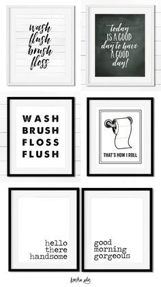 Free Bathroom Printables - Black and White