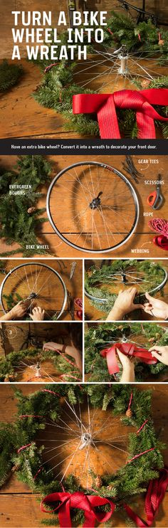 Have an extra bike wheel in your garage? Upcycle it into a unique wreath for your front door using extra webbing, evergreen boughs and a few gear ties.