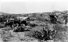 Papago Indian camp. Covered wagons and horses, near San Xavier Mission, AZ. Western History Collections, University of Oklahoma Libraries, Irwin Brothers Studio Collection, Native American Photos