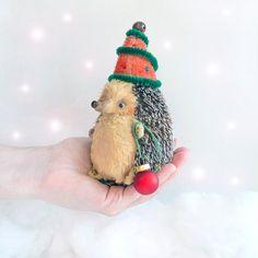 Christmas Hedgehog Elf  14cm by KittyAprilHandmade on Etsy