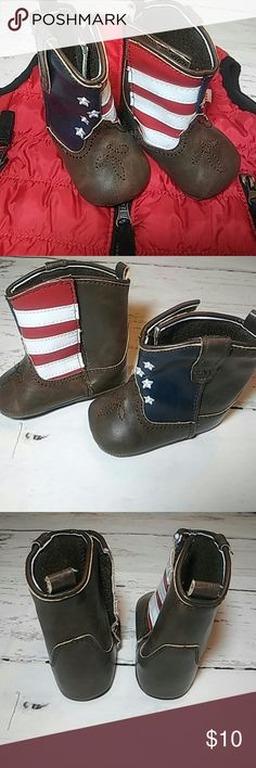 Soft boots crib shoes Brown boots Red white stripes Blue with white stars Velcro design for easy wearing Size 3-6m  $2 off list price when purchase 2 or more items. Shoes Boots