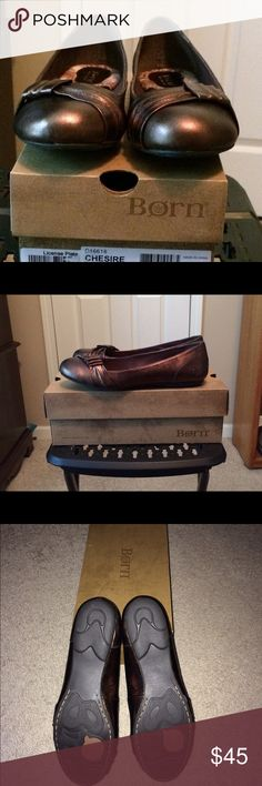 Born Chesire Bronze with detail. Smoke free home. New in box, never worn. Bronze leather with bow detail. Smoke free home. Born Shoes Flats & Loafers