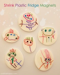 DIY fridge magnets out of a child's artwork by Craft me Happy! Turn those first drawings into fridge magnets using inkjet shrink plastic. Plastic Fou, Shrink Plastic, Plastic Canvas, Diy Crafts For Kids, Arts And Crafts, Paper Crafts, Kids Magnets, How To Make Magnets, Shrink Art