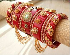 Gorgeous rajwadi bangles 👌😍 Best Quality ❤️ Size - Total Bangles Material - kundan work on plastic and metal base♥️… Indian Jewelry Earrings, Fancy Jewellery, Hand Jewelry, Indian Bangles, Bead Jewellery, Bridal Jewellery, Diamond Jewellery, Thread Bangles Design, Gold Bangles Design