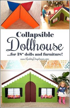 DIY Collapsible Dollhouse for Dolls - Reality Daydream Girls Dollhouse, Diy Dollhouse, Ag Doll House, Doll Houses, Barbie House, American Girl House, American Girls, Ag Dolls, Girl Dolls