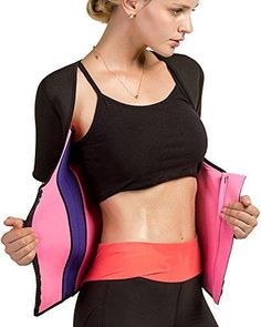 Roseate Women's Body Shaper Hot Sweat Slimming Shirt Short Sleeve with Zip Weight Loss Shapewear Colourblock XL