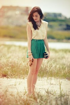 Shorts by Something Else by Natalie Wood, top, clutch, and gold bangles by J.Crew. (June 2, 2012)