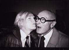 Warhol kissing Philip Johnson, 1978. Philip Johnson's hip parties included such cultural icons as Andy Warhol and Lou Reed.