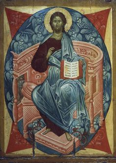 """Evolution is a theory; Jesus Christ is God"": A Vision of St. Early Christian, Christian Art, Religious Icons, Religious Art, Jesus Is Lord, Jesus Christ, Savior, Christ Pantocrator, Life Of Christ"