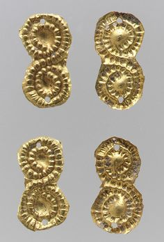 Gold sheet appliques Period: Migration Date: half of the century A. Culture: East Germanic or nomadic (? Renaissance Jewelry, Viking Jewelry, Ancient Jewelry, Old Jewelry, Antique Jewelry, Gold Sheets, Ancient Vikings, Gold Ornaments, Medieval Art