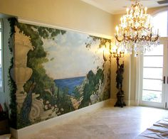 Mural by artist Leonard Greco; foreground anchored by decorative concrete/stone urn on ionic pedastal