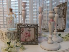 Up cycled Chic Candle holders and picture! Shabby Chic!