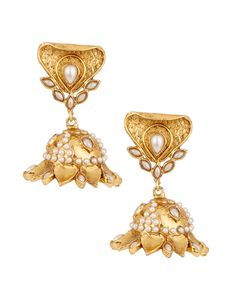 Fascinating Gold Plated Jhumki Pearl Earrings