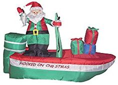Found it at Wayfair - Christmas Inflatable Santa Claus Fishing Decoration Christmas Lawn Decorations, Christmas Yard Art, Christmas Holidays, Holiday Decor, Holiday Ideas, Outdoor Decorations, Christmas Images, Outdoor Christmas, Christmas Ideas