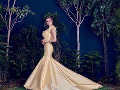 Hamda AlFahim Fall Winter 2016 Yellow Taffeta Mermaid Dress with Floral Appliqué - Side View