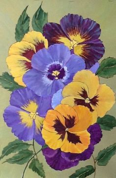 """Pansy art - """"Hurrah for the Yellow and Blue"""" - acrylic painting by Lorraine Skala - Please visit my Etsy Shop to purchase notecards or prints"""