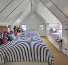 awesome way to design a attic bedroom for all the kids to enjoy loft conversion or small wood cabin house design ideas Bunk Rooms, Attic Bedrooms, Home Bedroom, Bedroom Decor, Bedroom Ideas, Bedroom Sconces, Bedroom Beach, Cottage Bedrooms, Coastal Bedrooms