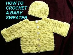 ▶ How to crochet a BABY CARDIGAN SWEATER JACKET, Part 1 - YouTube