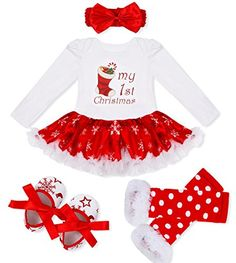 FEESHOW Baby Girl My First Christmas Tutu Outfit Dress Leg Warmer Shoes Headband White Red Stocking 6-9 Months *** See this great product.