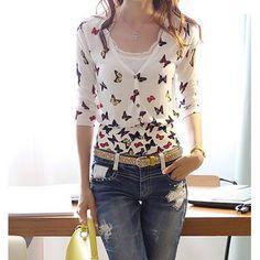 Elegant Butterfly V-cuello de impresión de 3/4 de la manga de la rebeca para las mujeres para Vender - La Tienda En Online IGOGO.ES