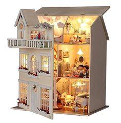 Cheap toy mirror, Buy Quality light up shoe laces directly from China toy white lights Suppliers: Hongda large diy wooden dollhouse villa doll house voice LED lights miniature model toys girls Dollhouse Kits, Wooden Dollhouse, Dollhouse Miniatures, Homemade Dollhouse, Wooden Dolls, Wooden Diy, Handmade Wooden, Wooden Cart, Making Wooden Toys