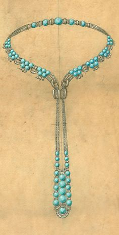 Rubel Frères - Design for an Art Deco diamond and turquoise necklace, 1920s. This precious necklace mixes diamonds and turquoises. Once again, the pendant looks quite sophisticated and the design follows the Orientalism trend, much in style in the 1920s in Europe and the United States.