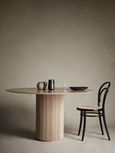 Palais Royal Dining Table - White Stained Oak Base and Top Dining Table Chairs, Round Dining Table, Table Furniture, Painted Furniture, Interior Exterior, Luxury Interior, Room Interior, Interior Design, Tulip Table