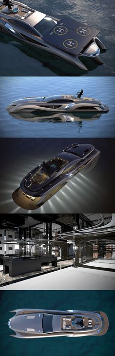 Yacht by Gray Designs is 75-meters in size and decked out with the best of technology and design. Features a car showroom, retail space, entertaining room and a roof with built-in solar panels that double as a helicopter landing pad. On the engine side, it boasts a 630-horsepower V12 engine.