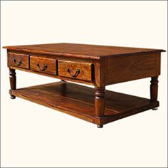 Solid Wood 3 Storage Drawer Cocktail Sofa Coffee Table