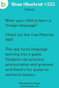 School Hacks A free app that helps your kids learn a foreign language! Check out our lifehacks for school including study tips and learning resources. CLICK NOW to discover more Mom Hacks. Life Hacks For School, School Study Tips, School Fun, Lifehacks, Kids And Parenting, Parenting Hacks, Kids Learning, Learning Resources, Learning Spanish