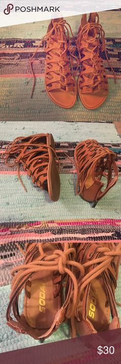Size 8.5 Brown/Tan Sandals Soft Brown / Tan Soda Brand Sandals! Tie Up Laces & Zipper In Back. No Damages. Shoes Sandals
