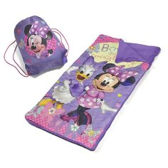 Disney Mickey Mouse and Friends Minnie Mouse Sleeping Bag and Sackpack Slumber Set, Multicolor
