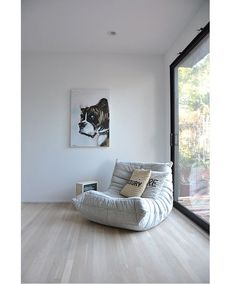 White Bright Color Togo Sofa Completed Among Wooden Floor Design