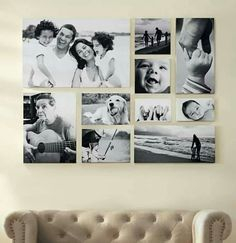 Love this black & white photo canvas wall!