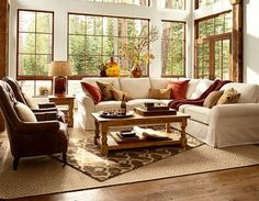 **1**Pottery Barn Beautiful Living Room..Great colors and like the way the two rugs look!!