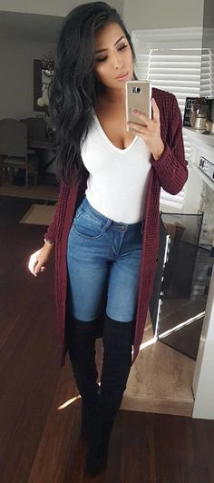 #fall #outfits women's maroon cardigan