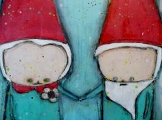 Encaustic mixed media painting Gnome Union love 8x10 by LiaLane,
