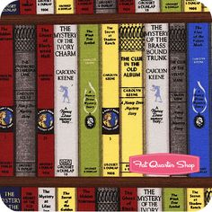 I ordered this fabric ... it came yesterday and it is gorgeous .... I will  make a purse from it and line it with the blue magnifying glass material ...... Get a Clue with Nancy Drew Multi Bookcase Yardage SKU# 1342-11 - Fat Quarter Shop