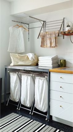 A small laundry room can be a challenge to keep laundry room cabinets functional, yet since this laundry room organization space is constantly in use, we have some inspiring design laundry room ideas. Ikea Laundry Room, Laundry Room Remodel, Farmhouse Laundry Room, Laundry Closet, Laundry Room Organization, Laundry Room Design, Laundry In Bathroom, Organization Ideas, Laundry Decor