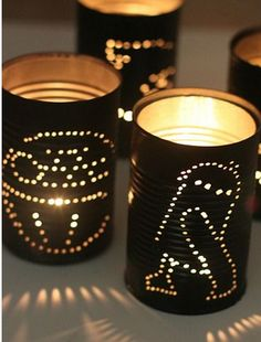 Homemade candle holders | Star Wars | DIY: drill designs into can (painted and decorate)