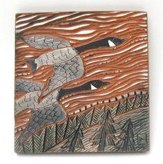 flying geese hand carved ceramic art tile