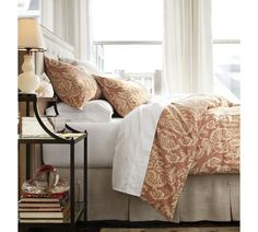 Alessandra Floral Reversible Duvet Cover & Sham - Red | Pottery Barn - love the matching headboard and bedskirt!