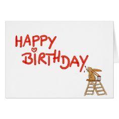 Happy Birthday - Rabbit on Ladder Card Rabbit Illustration, Bunny Art, Birthdays, Happy Birthday, Love You, Ladder, Cards, Bunnies, Happy Birthday Lyrics