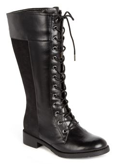 Plus Size Nessie tall wide-calf lace up flat boot by Comfortview® | Plus Size wide calf boots | Woman Within