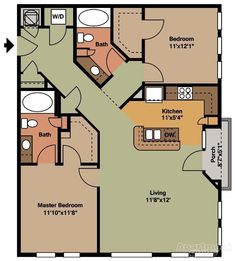 -- 2 bedroom 2 bathroom Potentially add another wing next to the laundry room for more bedrooms, maybe an office Small House Floor Plans, Cabin House Plans, Cabin Floor Plans, Tiny House Cabin, Cottage Floor Plans, The Plan, How To Plan, 2 Bedroom House, Cottage Plan