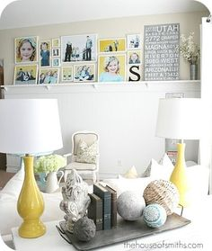 How to Decorate Series {day 1}: Gallery Wall Tips by House of Smiths love the ledge and design and choice of her faves to be out on display! very nice and cohesive look! <3
